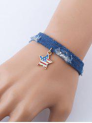 American Flag Star Denim Charm Bracelet