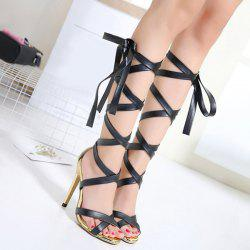 Faux Leather Tie Up Sandals