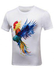 Rooster Paint Print Crew Neck Tee