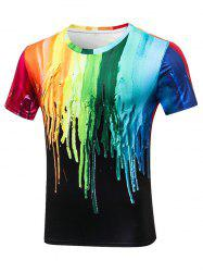Peinture Dripping Crew Neck Tee - Multicolore