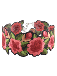 Flower Embroidered Choker Necklace -