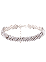 Alloy Rhinestone Choker Necklace - SILVER