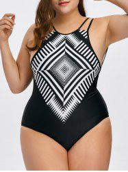 Plus Size Arygle Low Back One Piece Swimsuit - BLACK