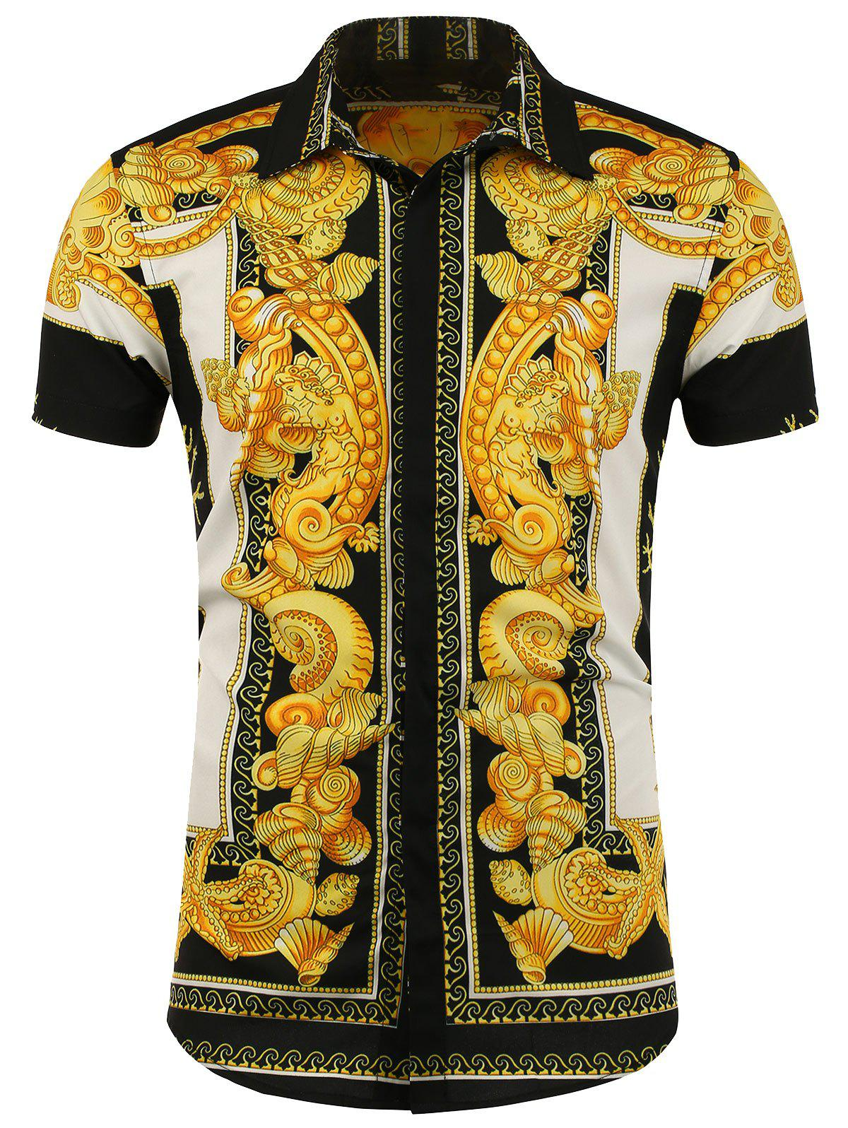 Button Front Printed Short Sleeve Shirt