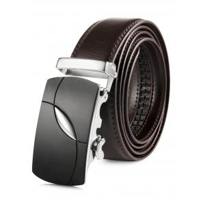 Oval Bulge Metal Auto Buckle Wide Leather Belt