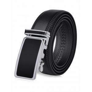 Round Rectangle Metallic Auto Buckle Leather Belt - Black