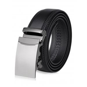 Smooth Metal Auto Buckle Leather Belt - Black