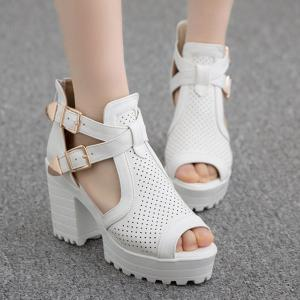 Double Buckle Straps Platforn Sandals - WHITE 38