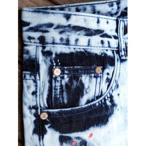 Colored Peint brisées Trou Jeans - Denim Bleu 29