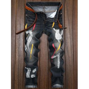 Colored Painted Destroyed Straight Leg Jeans - Black - 32
