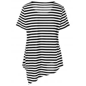 Plus Size Lace Applique Striped T-Shirt - STRIPE 3XL