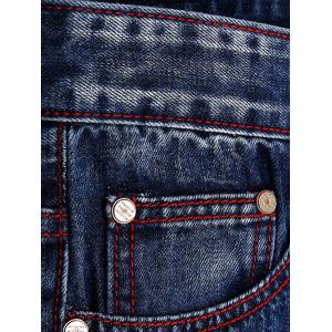 Ripped and Repaired Straight Leg Slim Fit Jeans - DENIM BLUE 34