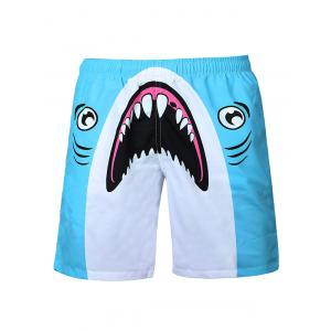 Shark Print Swim Shorts - Blue And White - S
