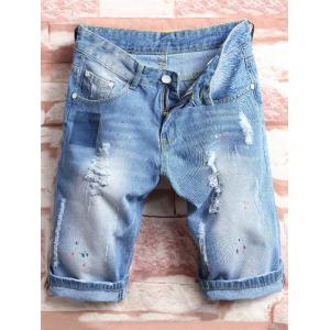 Color Painted Ripped Jean Shorts