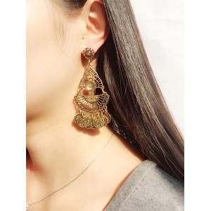 Artificial Gem Coins Bohemian Drop Earrings - GOLDEN