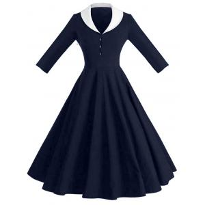 Shawl Collar Pin Up Dress - Purplish Blue - 2xl