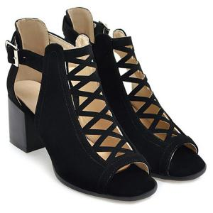 Hollow Out Suede Block Heels Sandals - BLACK 37