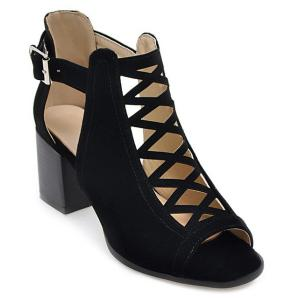 Hollow Out Suede Block Heels Sandals - BLACK 40