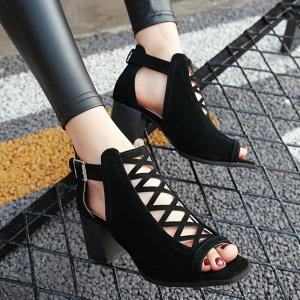 Hollow Out Suede Block Heels Sandals - BLACK 41