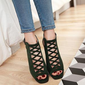 Hollow Out Suede Block Heels Sandals -