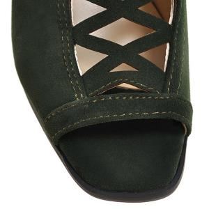 Hollow Out Suede Block Heels Sandals - ARMY GREEN 38