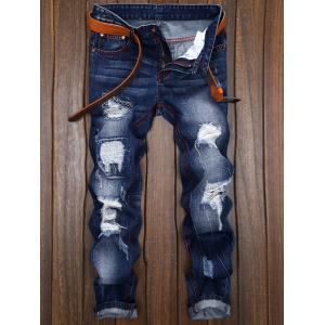 Ripped and Repaired Straight Leg Slim Fit Jeans