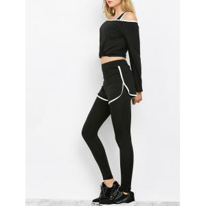 Sport Bra and Crop Top With  Leggings Three Piece Sets - Black - One Size