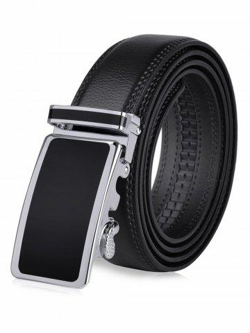 Fancy Round Rectangle Metallic Auto Buckle Leather Belt - BLACK  Mobile