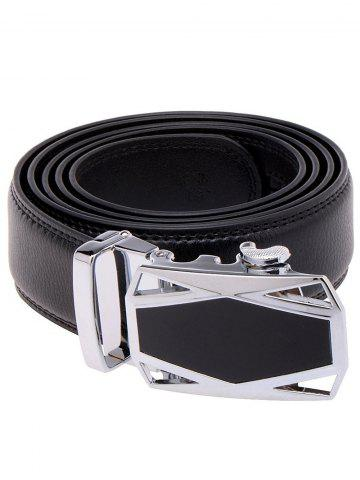 Chic Racing Car Auto Buckle Leather Belt - BLACK  Mobile