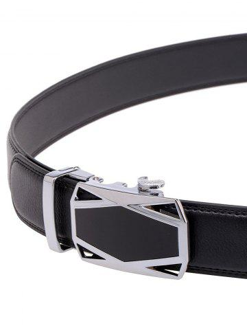 Affordable Racing Car Auto Buckle Leather Belt - BLACK  Mobile