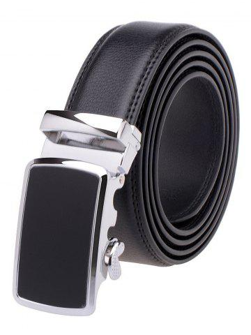 Latest Simple Metal Auto Buckle Leather Belt - BLACK  Mobile