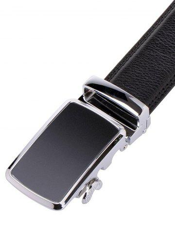 Best Simple Metal Auto Buckle Leather Belt - BLACK  Mobile