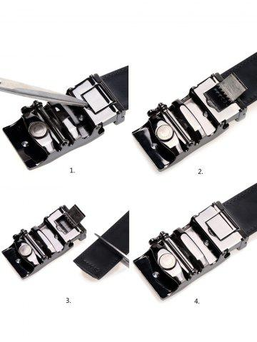 Sale Simple Metal Auto Buckle Leather Belt - BLACK  Mobile