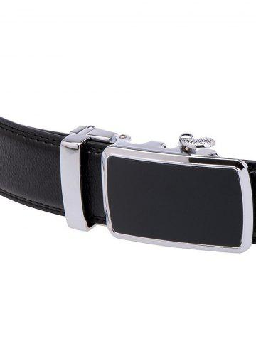 Cheap Simple Metal Auto Buckle Leather Belt - BLACK  Mobile