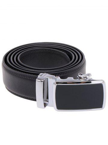 Unique Simple Metal Auto Buckle Leather Belt - BLACK  Mobile