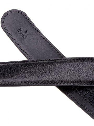 Chic Rectangle Metal Auto Buckle Leather Formal Belt - BLACK  Mobile