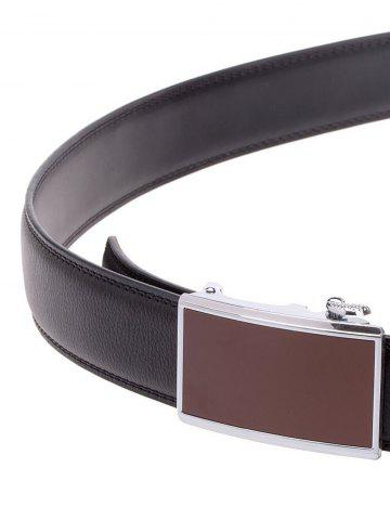 Cheap Rectangle Metal Auto Buckle Leather Formal Belt - BLACK  Mobile