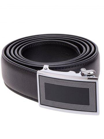 Sale Polyline Rectangle Metal Auto Buckle Leather Belt - BLACK  Mobile