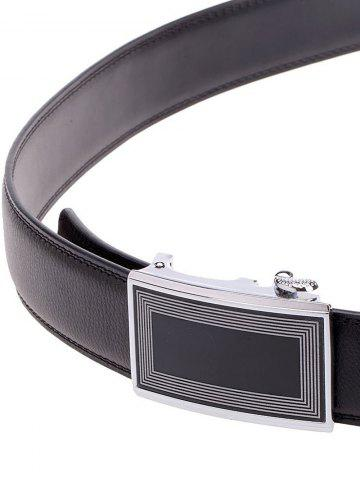 Chic Polyline Rectangle Metal Auto Buckle Leather Belt - BLACK  Mobile