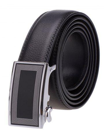 Best Polyline Rectangle Metal Auto Buckle Leather Belt - BLACK  Mobile