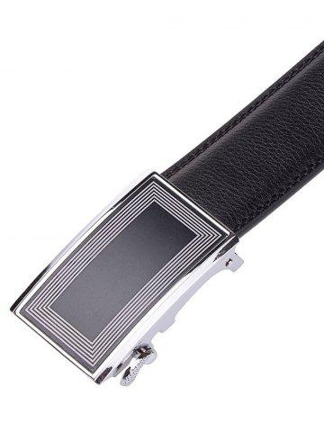 Latest Polyline Rectangle Metal Auto Buckle Leather Belt - BLACK  Mobile