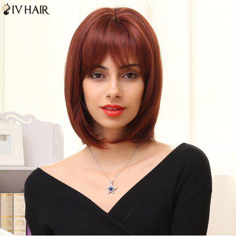 Chic Siv Hair Short Neat Bang Bob Human Hair Wig COLORMIX