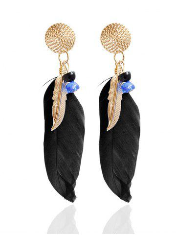 Latest Ethnic Alloy Feather Drop Earrings BLACK