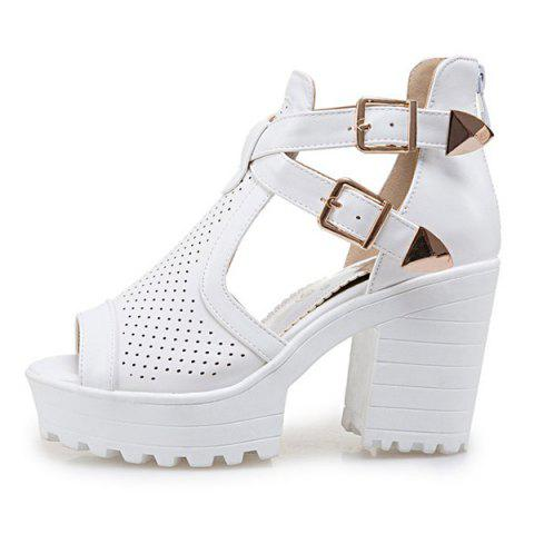 New Double Buckle Straps Platforn Sandals - 39 WHITE Mobile