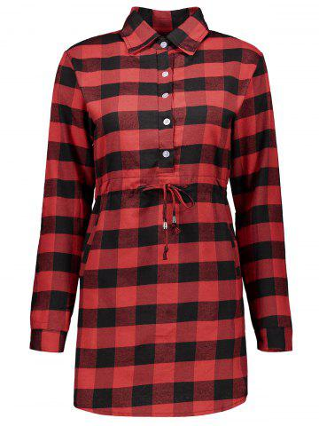 Shop Casual Drawstring Checked Short Tartan Shirt Dress RED WITH BLACK XL