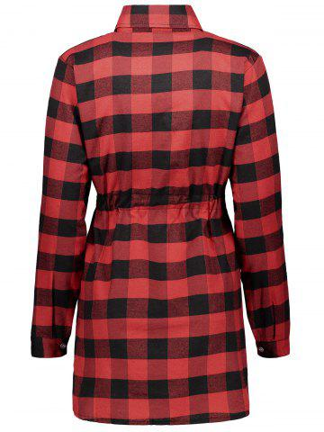 Hot Casual Drawstring Checked Tartan Shirt Dress - XL RED WITH BLACK Mobile