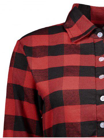 Best Casual Drawstring Checked Tartan Shirt Dress - XL RED WITH BLACK Mobile