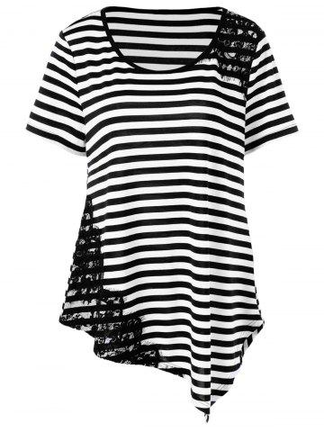 Fashion Plus Size Lace Applique Striped T-Shirt STRIPE 3XL