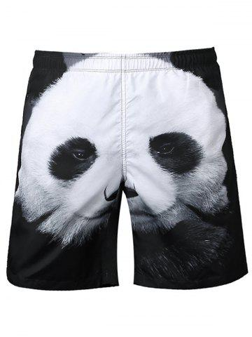 Trendy Panda Patchwork Casual Shorts - L WHITE AND BLACK Mobile