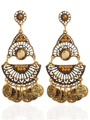 Outfit Artificial Gem Coins Bohemian Drop Earrings GOLDEN